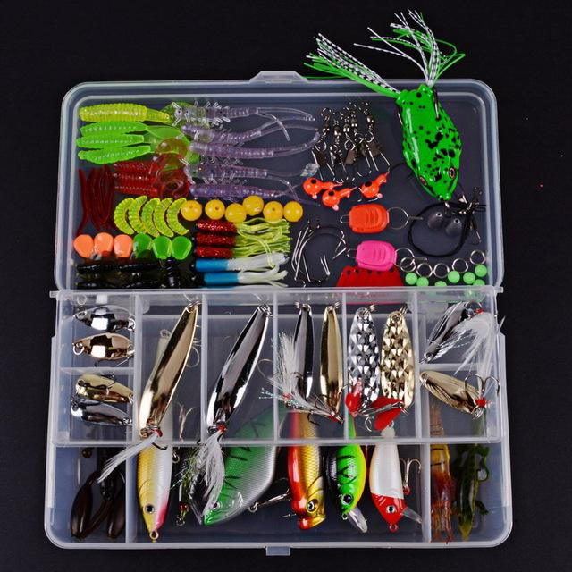 Fishing Hard/Soft Baits Popper Baits Fishing Floats Fish Hooks Kit Set With Box-Mixed Combos & Kits-Bargain Bait Box-LS0037 105pcs-Bargain Bait Box
