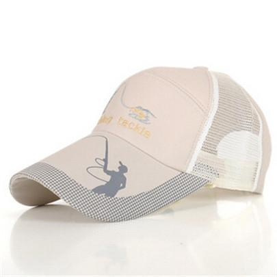 Fishing Hats For Men Anti-Uv Protection Caps Mesh Breathable Embroidery Grid Cap-Hats-Bargain Bait Box-Beige-M-Bargain Bait Box