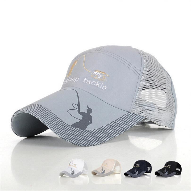 Fishing Hats For Men Anti-Uv Protection Caps Mesh Breathable Embroidery Grid Cap-Hats-Bargain Bait Box-Blue-M-Bargain Bait Box