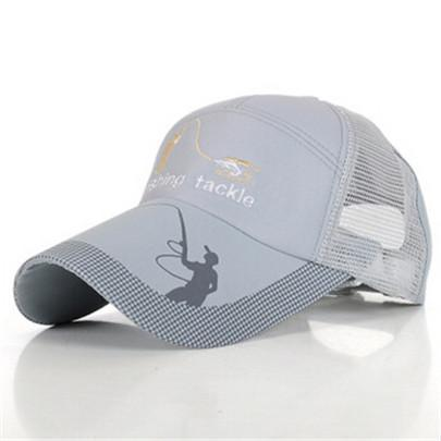 Fishing Hats For Men Anti-Uv Protection Caps Mesh Breathable Embroidery Grid Cap-Hats-Bargain Bait Box-Gray-M-Bargain Bait Box