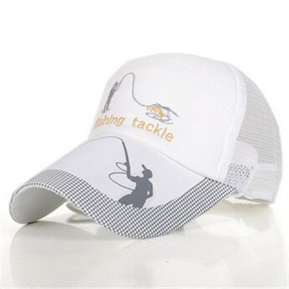 Fishing Hats For Men Anti-Uv Protection Caps Mesh Breathable Embroidery Grid Cap-Hats-Bargain Bait Box-White-M-Bargain Bait Box