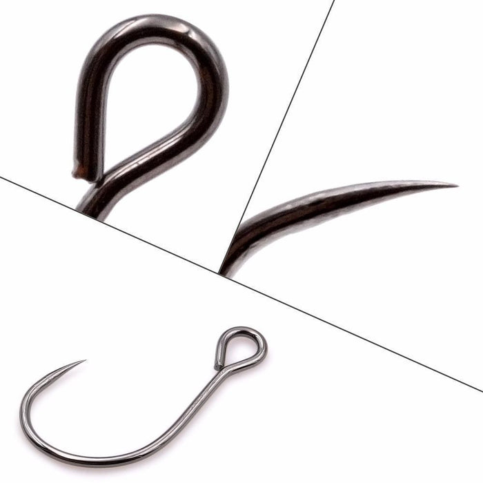 Fishing Hook High Carbon Steel Streams Bait Fishing Bass Lure Hooks Barbless-JuBao Trading Store-size 4-Bargain Bait Box