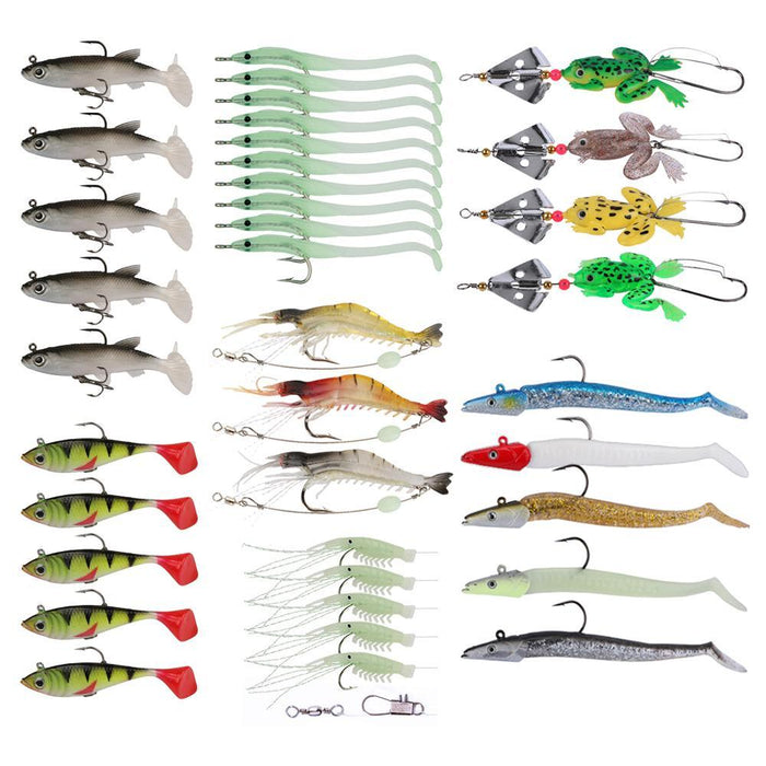 Fishing Kit 37Pcs/Lot Soft Frog /Silicone Bait/Shrimp For Fresh Water/Sea-Soft Bait Kits-Bargain Bait Box-Bargain Bait Box