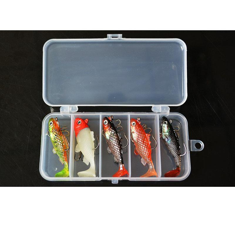 Fishing Kit Lead Fish 60Mm 8.5G Cost Performance Soft Bait 5 Pieces Lot With Box-Soft Bait Kits-Bargain Bait Box-Bargain Bait Box