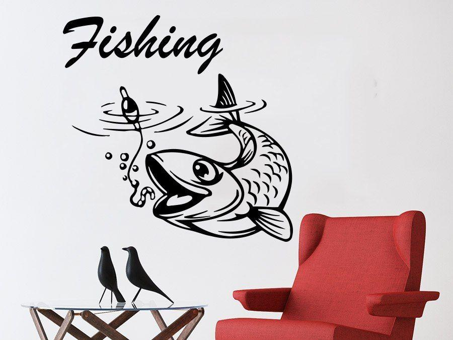 Fishing Male Hobbies Wall Decal Fish Nibble Wall Decals Vinyl Stickers-Fishing Decals-Bargain Bait Box-Bargain Bait Box