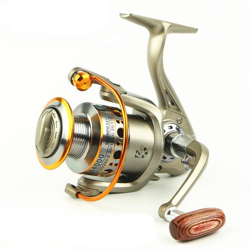 Fishing Reel 12 Bearing Metal Head Spinning Reels Wood Handle Lc Series Metal-Spinning Reels-Even Sports-2000 Series-Bargain Bait Box