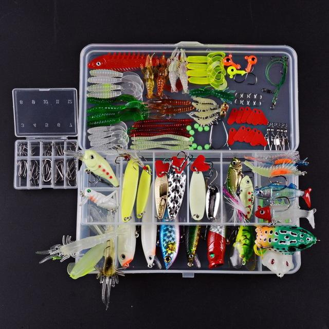 Fishing Set Minnow/Popper/Frog /Soft Silicone Bait Spinner Spoon Grip Hook-Mixed Combos & Kits-Bargain Bait Box-154pcs LS0017-Bargain Bait Box