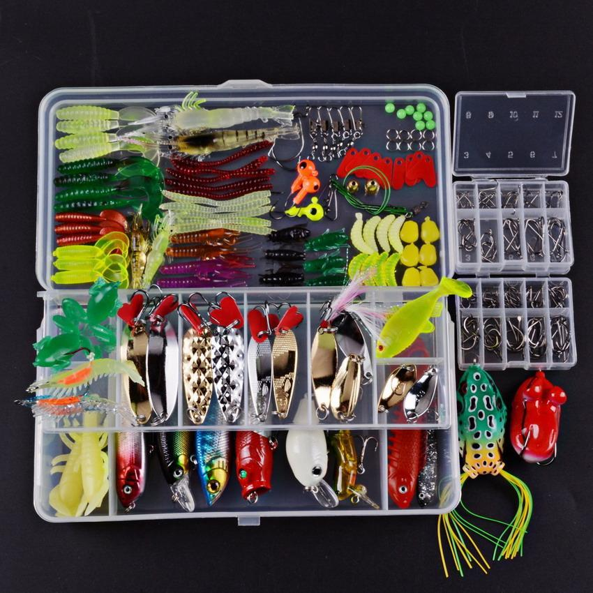 Fishing Set Minnow/Popper/Frog /Soft Silicone Bait Spinner Spoon Grip Hook-Mixed Combos & Kits-Bargain Bait Box-233pcs LS0012-Bargain Bait Box