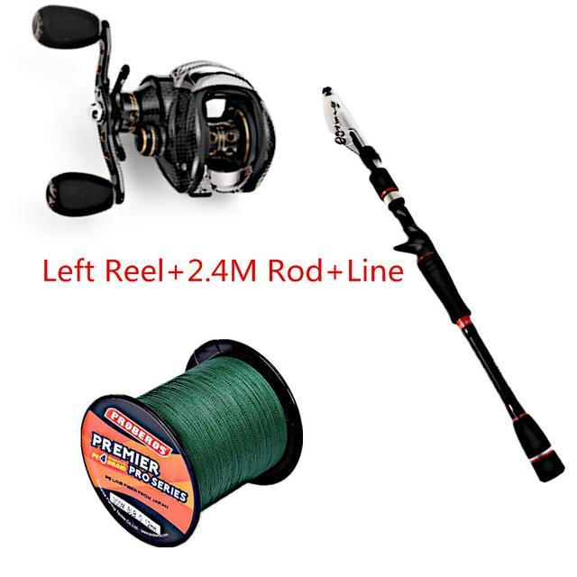 Fishing Set With Fishdrops Lb200 Fishing Reel + Fishing Line + Baitcasting-Outl1fe Adventure Store-Left Reel Line 240CM-Bargain Bait Box