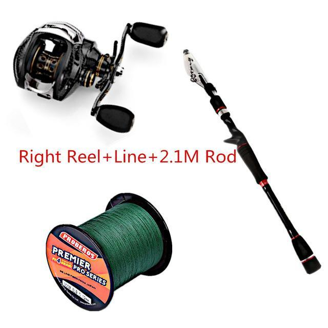 Fishing Set With Fishdrops Lb200 Fishing Reel + Fishing Line + Baitcasting-Outl1fe Adventure Store-RightReel Line 210CM-Bargain Bait Box