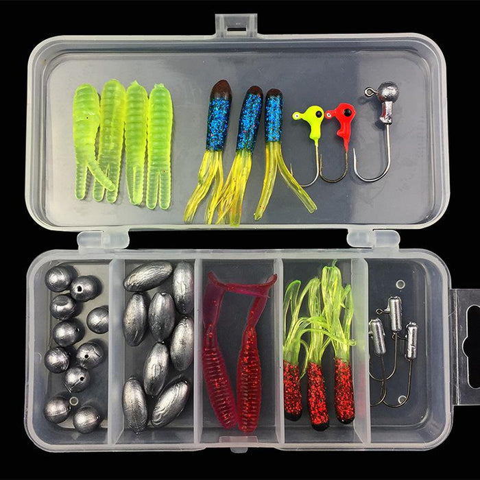 Fishing Soft Bait Jig Head Kit Lead Sinker Worm Grub Hook 37 Pieces Set-Jig Kits-Bargain Bait Box-Bargain Bait Box