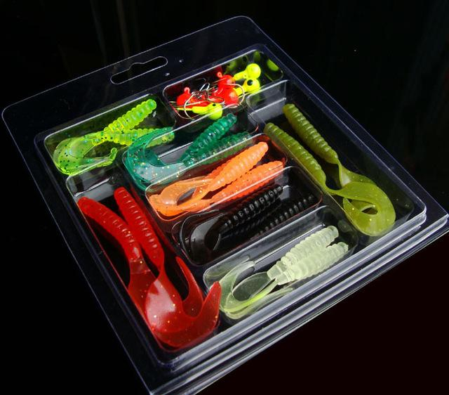 Fishing Soft Bait Kit 24 Pieces Worm Jig Head Single Tails Spin-Jig Kits-Bargain Bait Box-Bargain Bait Box