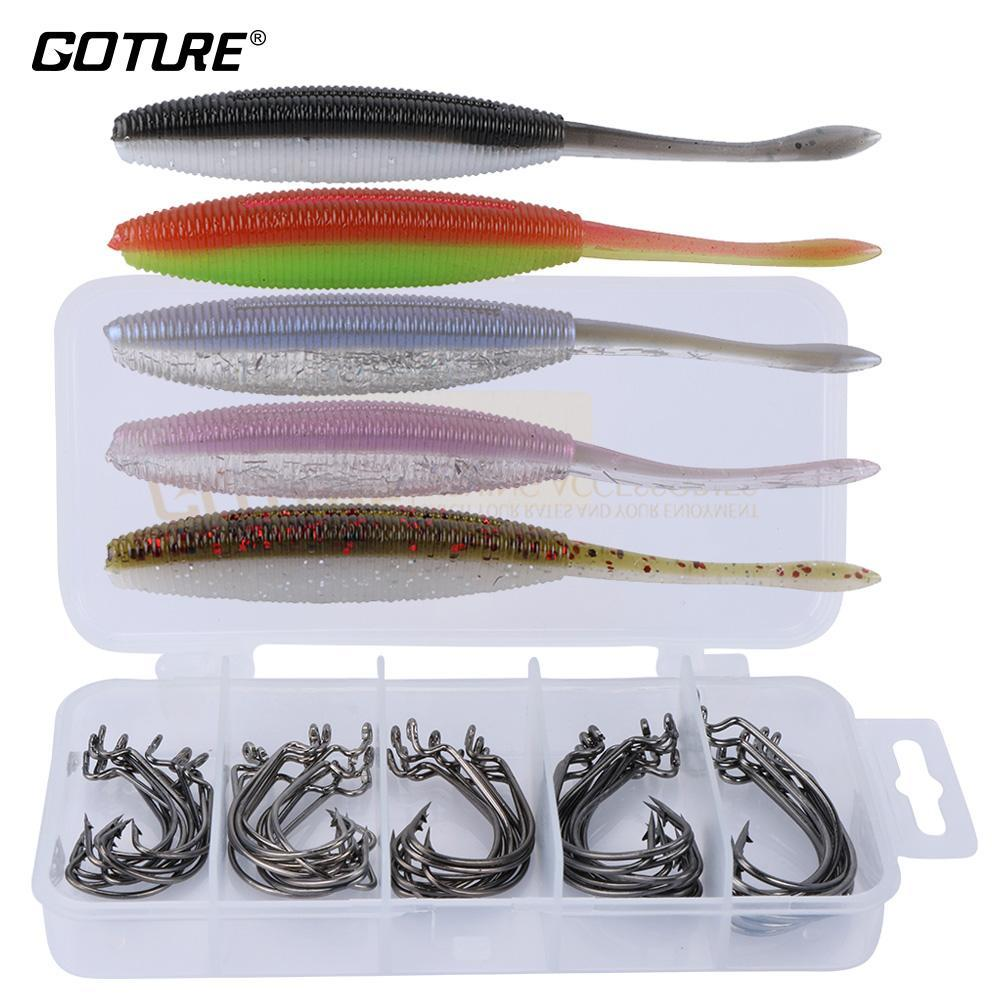 Fishing Worm Soft Baits 10Cm 4.7G With Jig Fishhooks/Offset Hook #2 #1 #1/0 #2/0-Soft Bait Kits-Bargain Bait Box-Z00315-Bargain Bait Box