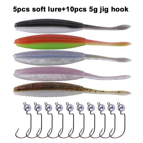 Fishing Worm Soft Baits 10Cm 4.7G With Jig Fishhooks/Offset Hook #2 #1 #1/0 #2/0-Soft Bait Kits-Bargain Bait Box-Z00316-Bargain Bait Box