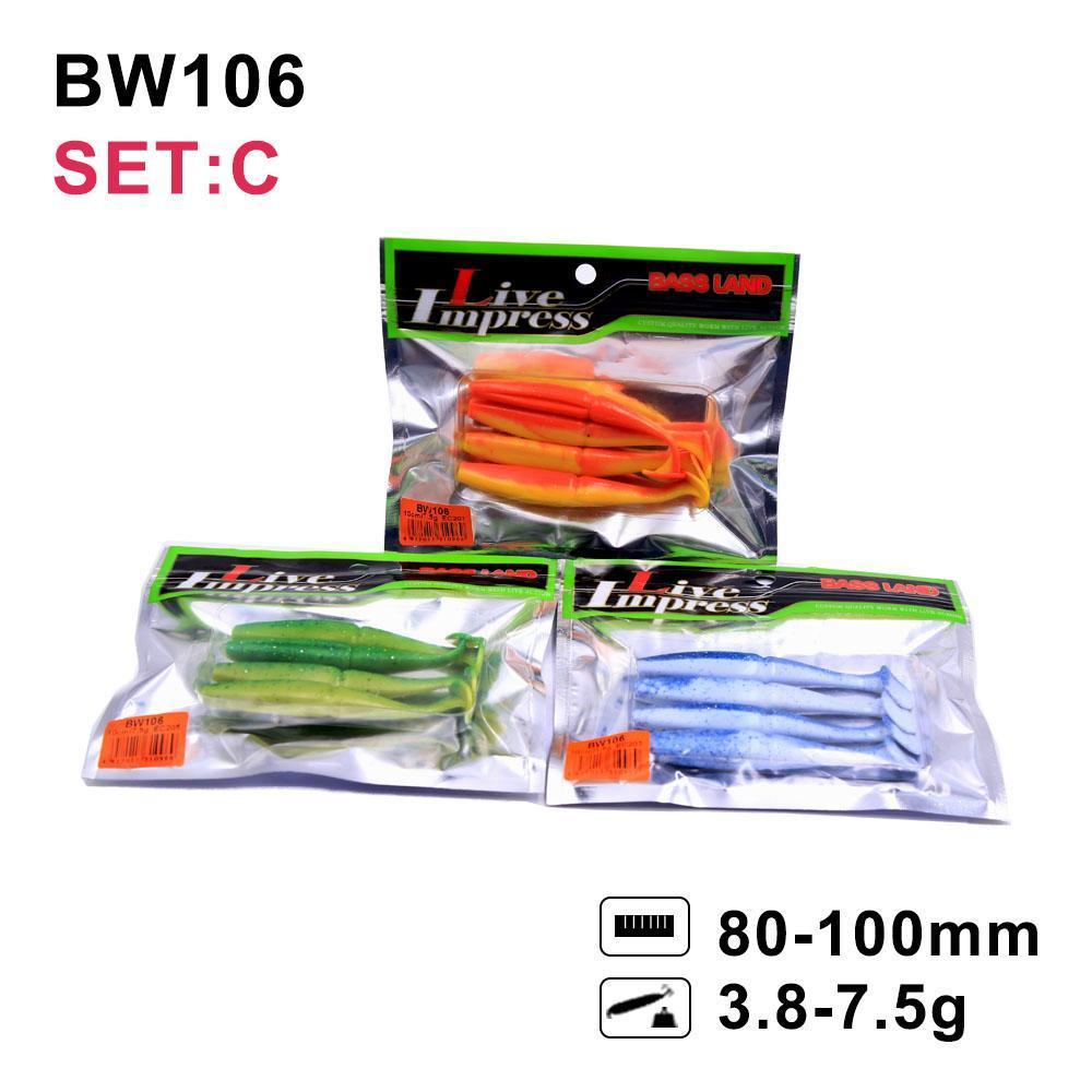 For Bass Fishing Bait Grub Swimbait Fishing Lure Model Bw106 T-Tail Cheapest-hunt-house Store-A-Bargain Bait Box