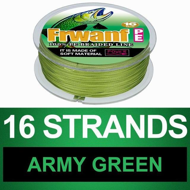 Frwanf 16 Braid Braided Fishing Line Braided 500M Japan 16 Strand Strong-Frwanf Official Store-Army Green-1.0-Bargain Bait Box