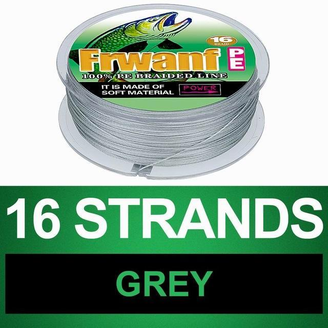 Frwanf 16 Braid Braided Fishing Line Braided 500M Japan 16 Strand Strong-Frwanf Official Store-Grey-1.0-Bargain Bait Box