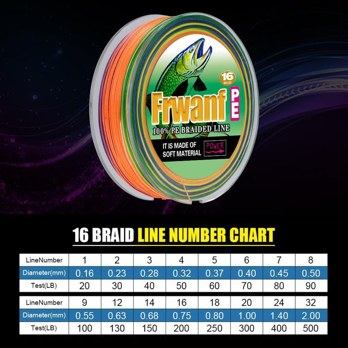 Frwanf 16 Braid Braided Fishing Line Braided 500M Japan 16 Strand Strong-Frwanf Official Store-White-1.0-Bargain Bait Box