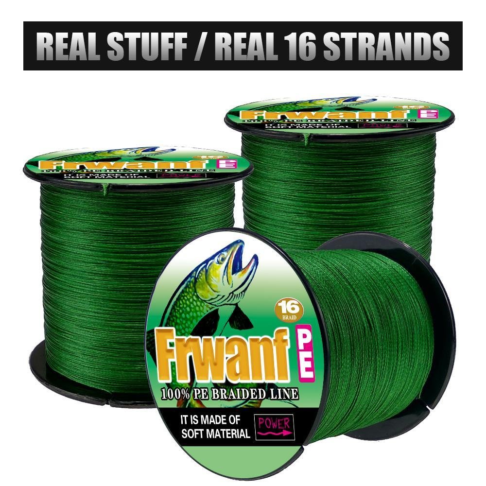 Frwanf 16 Strands Braided Fishing Line 500M Hollowcore Multifilament Line-Frwanf Official Store-White-1.0-Bargain Bait Box
