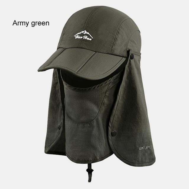 Fsc01 Fishing Bucket Hat Removable Foldable Portable Waterproof Hat Mask Face-Hats-Bargain Bait Box-army green-L-Bargain Bait Box
