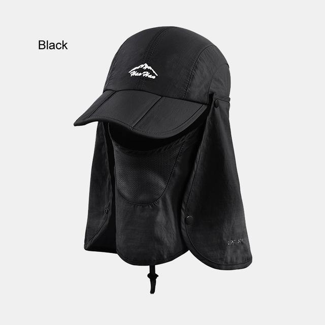 Fsc01 Fishing Bucket Hat Removable Foldable Portable Waterproof Hat Mask Face-Hats-Bargain Bait Box-black-L-Bargain Bait Box