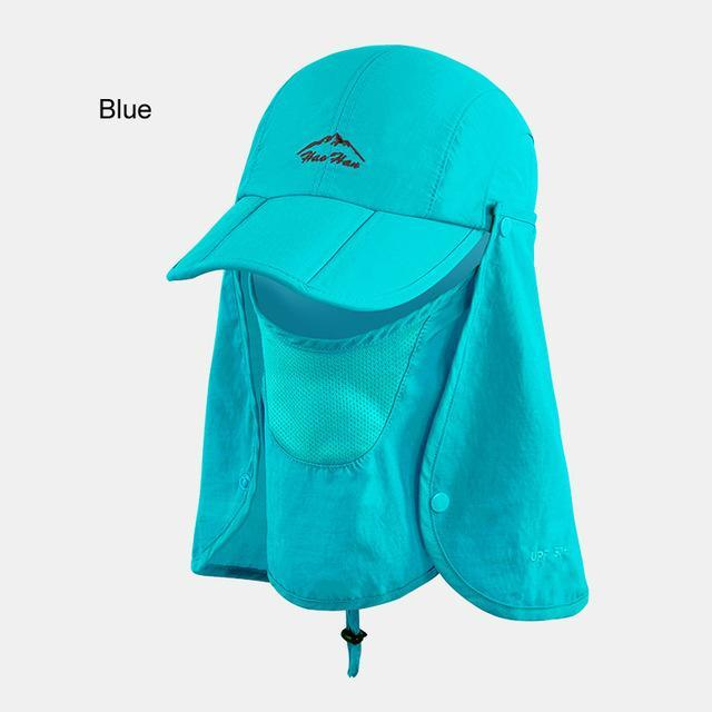 Fsc01 Fishing Bucket Hat Removable Foldable Portable Waterproof Hat Mask Face-Hats-Bargain Bait Box-blue-L-Bargain Bait Box