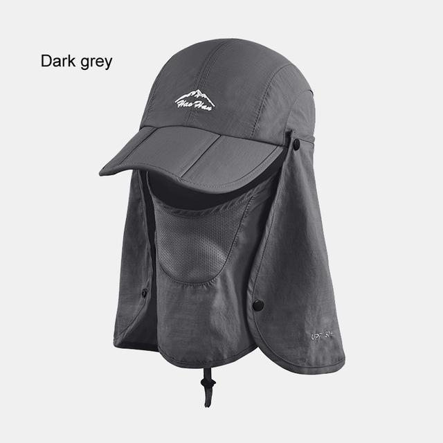 Fsc01 Fishing Bucket Hat Removable Foldable Portable Waterproof Hat Mask Face-Hats-Bargain Bait Box-dark grey-L-Bargain Bait Box