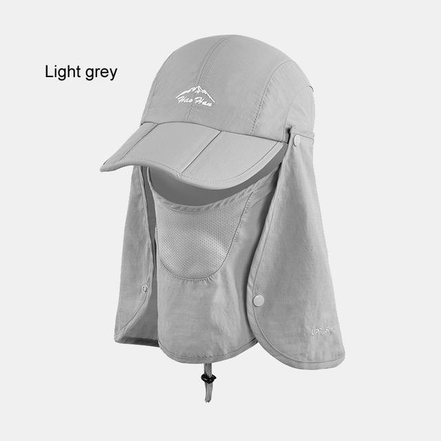 Fsc01 Fishing Bucket Hat Removable Foldable Portable Waterproof Hat Mask Face-Hats-Bargain Bait Box-light grey-L-Bargain Bait Box