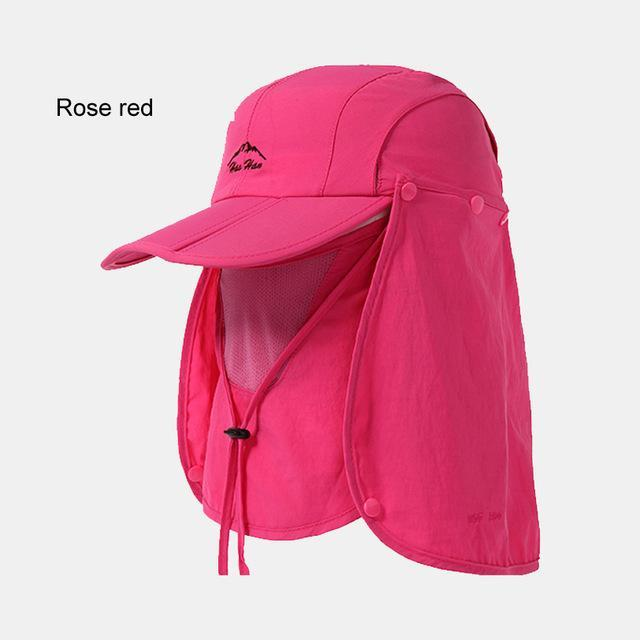 Fsc01 Fishing Bucket Hat Removable Foldable Portable Waterproof Hat Mask Face-Hats-Bargain Bait Box-rose red-L-Bargain Bait Box