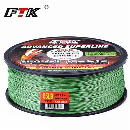 Ftk 8 Braided Wire 300M 1.0-6.0# Code 23-85Lb 4 Colors Braided Fishing Line-FTK Official Store-Dark green 300m-1.0-Bargain Bait Box