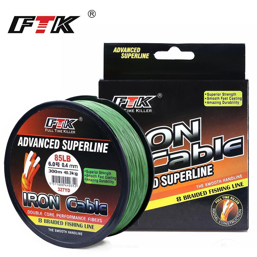 Ftk 8 Braided Wire 300M 1.0-6.0# Code 23-85Lb 4 Colors Braided Fishing Line-FTK Official Store-gray 300m-1.0-Bargain Bait Box