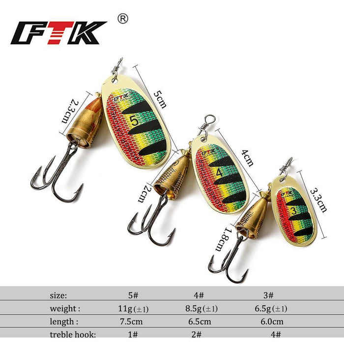 Ftk I Pc Spinner Fishing Lure Mid Depth Blade Runs 0.6-1.2M Spoon Fishing-FTK Official Store-size3-Bargain Bait Box