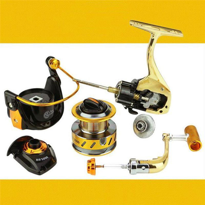 Full Metal Fish Spinning Reel 5.5:1 12+1 Bb Carretilha De Pesca Direita Aluminum-Spinning Reels-LLD Riding Store-1000 Series-Bargain Bait Box