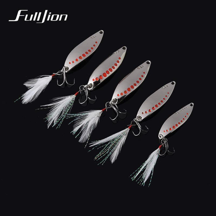 Fulljion 1Pcs Fishing Lures Metal Spinner Spoon Fishing Lure Hard Baits-Ali Fishing Store-Golden 5g-Bargain Bait Box
