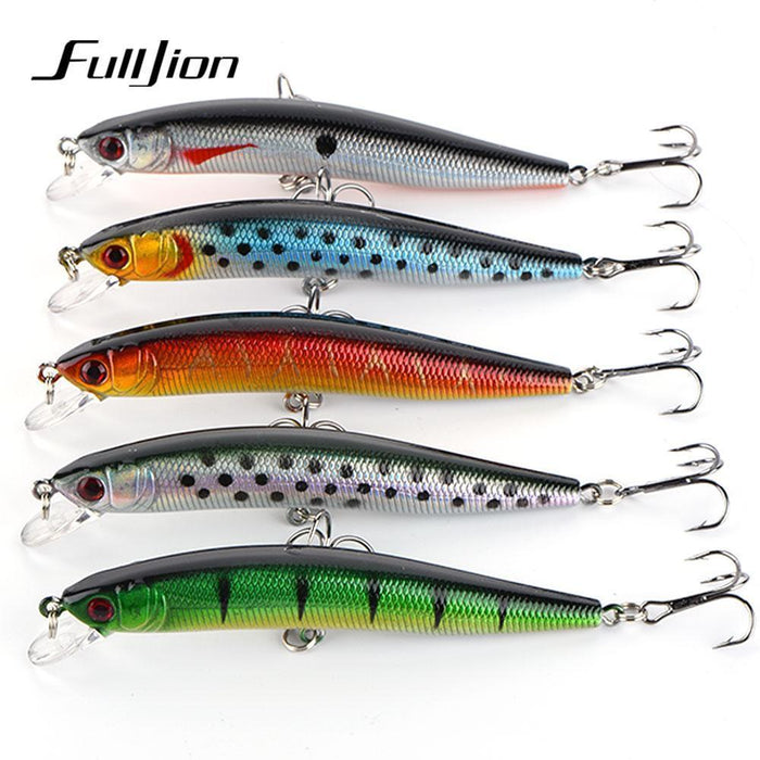Fulljion 5Pcs/Lot 9.5Cm 8.7G Fishing Lures Wobblers Minnow 6# Hooks 3D Eyes-Ali Fishing Store-Bargain Bait Box