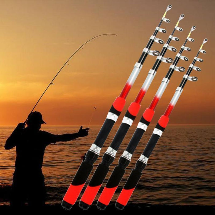 Glass Fiber Telescopic Fishing Rod 1.8M 2.1M 2.4M 2.7M 3.0M Long Casting Sea-Weekeight Outdoor store-1.8 m-Bargain Bait Box