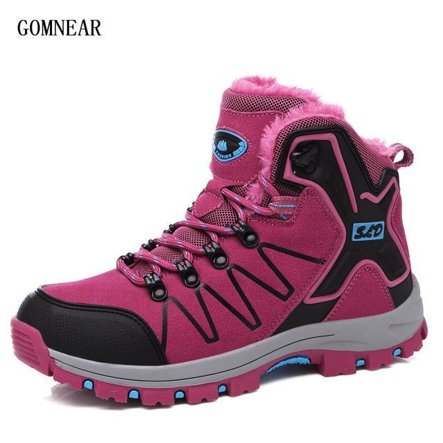 Gomnear Winter Women'S Plus Velvet Warm Hiking Boots Outdoor Trekking Tourism-GOMNEAR Official Store-Rose Red-5-Bargain Bait Box
