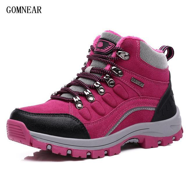 Gomnear Women'S Winter Hiking Shoes Plus Velvet Warm Outdoor Trekking Sport-GOMNEAR Official Store-Rose Red-5-Bargain Bait Box