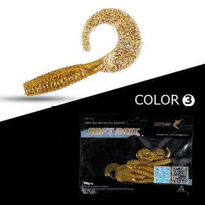 Goture 10Pcs/Lot 6Cm 2G Fishing Lure Soft Grub Worm Bait Curly Tail Silicone-Goture Official Store-C109301-Bargain Bait Box