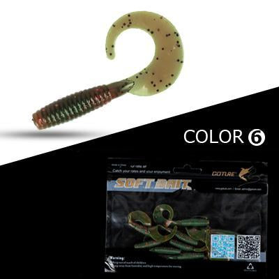 Goture 10Pcs/Lot 6Cm 2G Fishing Lure Soft Grub Worm Bait Curly Tail Silicone-Goture Official Store-C1093010-Bargain Bait Box