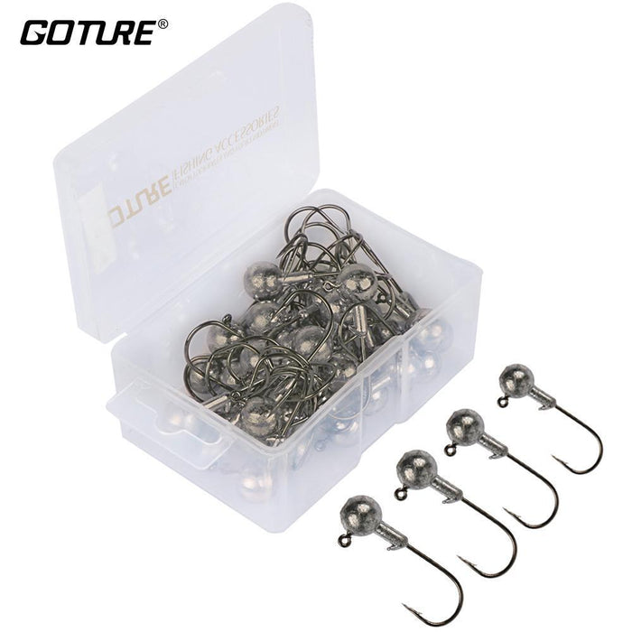Goture 20Pcs-50Pcs Lead Jig Head Fishing Hooks 1G - 20G Hooks For Soft Fishing-Pisfun fishing store-50pcs 1g-Bargain Bait Box