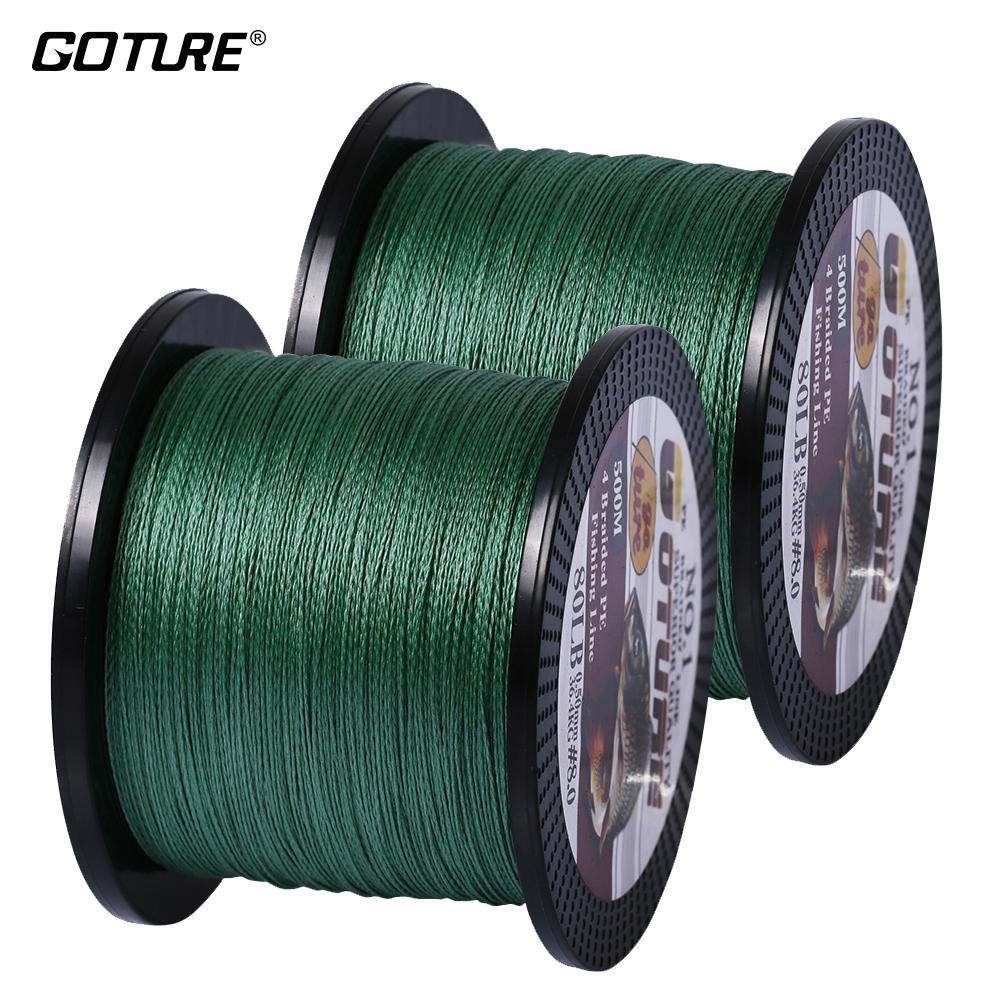 Goture 2Pcs/Lot 4 Strands Super Strong Multifilament Pe Braided Fishing Line-Pisfun fishing store-Green-0.4-Bargain Bait Box