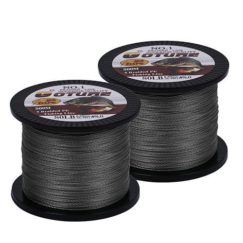 Goture 2Pcs/Lot 4 Strands Super Strong Multifilament Pe Braided Fishing Line-Pisfun fishing store-Grey-0.4-Bargain Bait Box