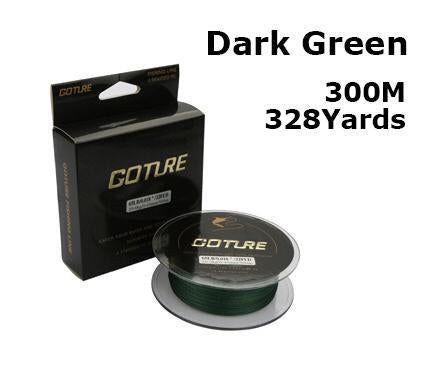 Goture 300M 8Lb-80Lb 0.07-0.5Mm Strong Braided Fishing Line Pe Multifilament-Goture Official Store-dark green-0.15-Bargain Bait Box