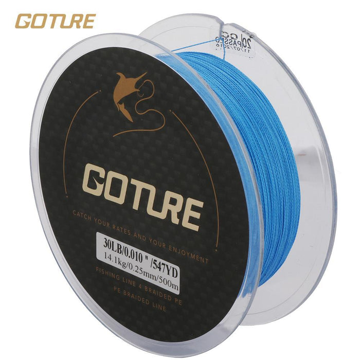 Goture 500M Strong Braided Fishing Line 4 Strands Pe Multifilament Line Sea-Goture Fishing Store-Yellow-0.15-Bargain Bait Box