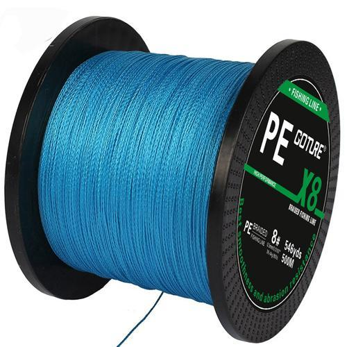 Goture Brand 500M 547Yards Pe Braided Fishing Line 8 Stands 17Lb-108Lb-Pisfun fishing store-Blue-0.8-Bargain Bait Box