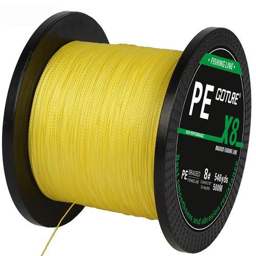 Goture Brand 500M 547Yards Pe Braided Fishing Line 8 Stands 17Lb-108Lb-Pisfun fishing store-Yellow-0.8-Bargain Bait Box
