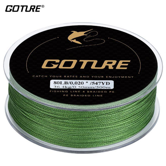 Goture Brand Braided Fishing Line 500M 547Yd 4 Stands Multifilament Fishing Line-Pisfun fishing store-Army green-0.15-Bargain Bait Box