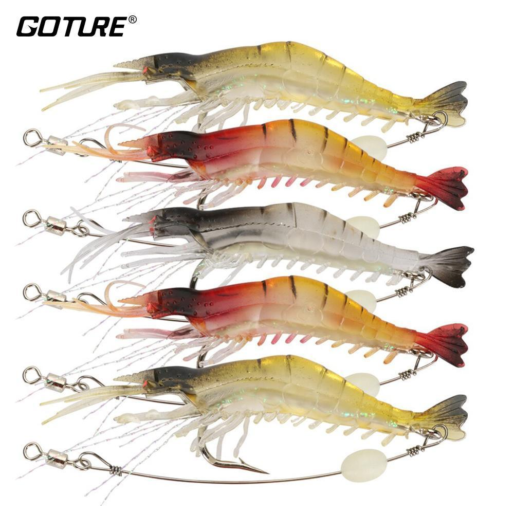 Goture Soft Fishing Lure Silicone Shrimp Bait With Luminous Bead Iscas-Goture Fishing Tackle Store-Bargain Bait Box