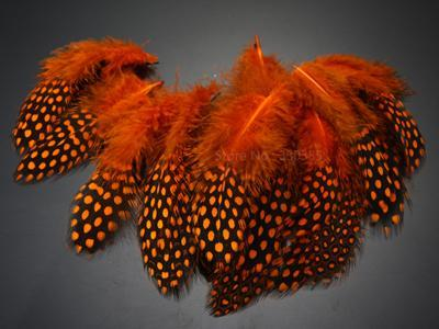 Guinea Hen Feather Saltwater Hackle Fly Tying Material Hand Selected Over 9 Cm-Fly Tying Materials-Bargain Bait Box-Orange-Bargain Bait Box